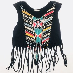 EUC UO Title Unknown festival fringe crop tee XS